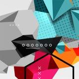 Affiche van de kleuren 3d geometrische samenstelling Royalty-vrije Stock Afbeeldingen