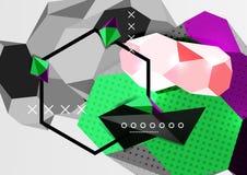 Affiche van de kleuren 3d geometrische samenstelling Royalty-vrije Stock Foto's