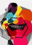 Affiche van de kleuren 3d geometrische samenstelling Stock Afbeeldingen