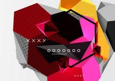 Affiche van de kleuren 3d geometrische samenstelling Stock Foto's