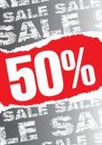 Affiche van de verkoop met teared uit rode ruimte voor tekst Royalty-vrije Stock Afbeelding