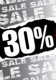 Affiche van de verkoop met teared uit zwarte ruimte voor tekst Stock Foto's