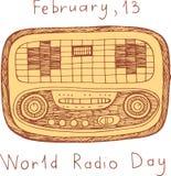 Affiche van de wereld de Radiodag Het beeldverhaalkunst van het krabbelgekrabbel met woorden stock illustratie