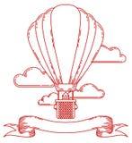Affiche van het Steampunk de uitstekende kader met luchtschip, fiets, radertjes, toestellen vector illustratie