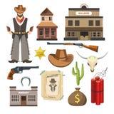 Affiche van het tekensymbolen van het cowboymalplaatje de vector vlakke kleurrijke Royalty-vrije Stock Afbeelding