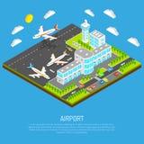 Affiche van Isometrische Luchthaven royalty-vrije illustratie