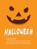 Affiche van oranje gezichtspompoen op de vlakke vector van Halloween Stock Foto