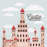 Affiche van roze kasteelprinsessen en sprookjes met kasteel en kleurrijke hemelachtergrond vector illustratie