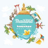 Affiche van Songkran-Festival in Thailand Thaise vakantie royalty-vrije illustratie