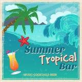 Affiche van uitstekende kust tropische bar Stock Foto