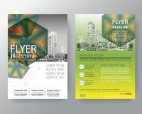 Affiche verte abstraite d'insecte de couverture de rapport annuel de brochure d'hexagone illustration de vecteur