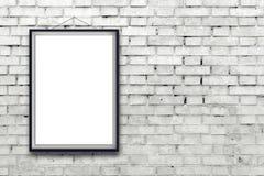 Affiche verticale vide de peinture dans le cadre noir Image stock