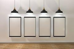 Affiche vide illuminée par des lampes ci-dessus illustration stock