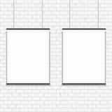 Affiche vide sur le mur de briques sans couture photographie stock libre de droits