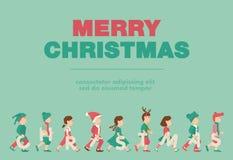 Affiche, Vlakke banner of achtergrond voor Vrolijke Kerstmispartij van het Jonge geitje - Vectorontwerp Royalty-vrije Stock Afbeelding