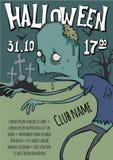 Affiche of vlieger voor Halloween-partij Zombieën die onder de graven in de begraafplaats lopen Vectormalplaatjeillustratie royalty-vrije illustratie