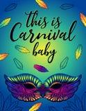 Affiche voor Carnaval met een helder vrouwelijk masker stock illustratie