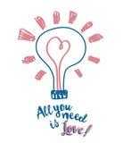 Affiche voor de dag van de valentijnskaart met lightbulb en hart in schetsstijl Royalty-vrije Stock Foto