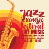 Affiche voor de levende muziek van het jazzfestival met saxofoon Stock Fotografie