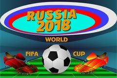 Affiche voor de Wereldbeker in Rusland Stock Foto's