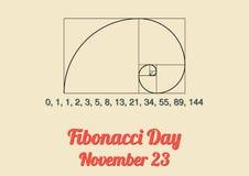 Affiche voor Fibonacci-Dag (23 November) Stock Foto's