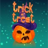 Affiche voor gelukkig Halloween met een pompoenhoofd in een heksenhoed De bannertruc of behandelt voor een feest van verschrikkin Stock Foto