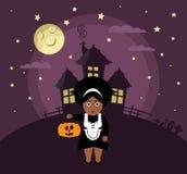 Affiche voor Halloween-Partij Het meisje is en pompoen Royalty-vrije Stock Foto