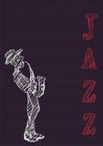 Affiche voor het festival of het overleg van de jazzmuziek De musicus speelt de saxofoon stock illustratie