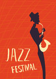 Affiche voor het festival of het overleg van de jazzmuziek De musicus speelt de saxofoon Illustratie stock illustratie