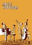 Affiche voor het festival of het overleg van de jazzmuziek Jazzband stock illustratie