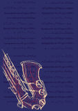 Affiche voor het jazzfestival, saxofoon en muzieknota's Vector illustratie stock illustratie