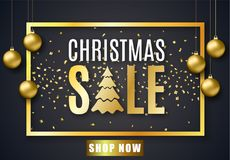 Affiche voor Kerstmisverkoop Stock Afbeelding
