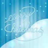 Affiche vrolijke Kerstmis, blauwe glanzende achtergrond Stock Foto