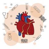 Affiche witte achtergrond met zwarte silhouetpictogrammen van gezondheidscontrole in achtergrond en kleurrijk cardiovasculair sys vector illustratie