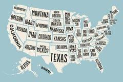 Affichekaart de Verenigde Staten van Amerika met de namen van de staat Royalty-vrije Stock Foto's