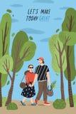 Affichemalplaatje met de leuke handen van de paarholding en het lopen samen bij park en romantische uitdrukking Jong jongen en me vector illustratie