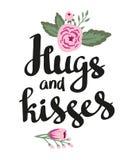 Affichemalplaatje - Omhelzingen en kussen Huwelijk, huwelijk, sparen de datum, de dag van Valentine Modieuze eenvoudige bloemende stock illustratie