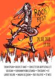 Affichemalplaatje voor een rotsgebeurtenis De langharige musicus speelt bizarre gitaar voor opgewekt publiek grunge Stock Afbeeldingen