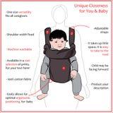 Affichemoeder met kinderen in een slinger op witte achtergrond Stock Foto