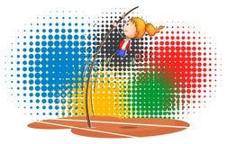 Afficheontwerp met meisje die polsstokspringen doen Royalty-vrije Stock Afbeelding