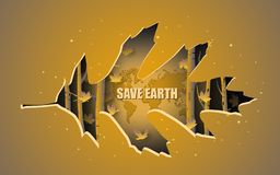 Afficheontwerp van sparen Aarde, met mooi die de herfstbos door bladdocument besnoeiing wordt behandeld stock illustratie