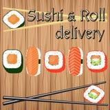 Afficheontwerp voor Japanse voedsellevering in vlakke vectorstijl Stock Afbeeldingen