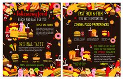 Affiches à emporter de menu d'aliments de préparation rapide de vecteur Images stock