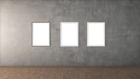 Affiches blanches avec la maquette vide de cadre Photos stock