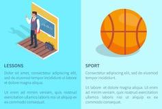 Affiches d'étude et de sport avec le professeur Basketball Photographie stock libre de droits