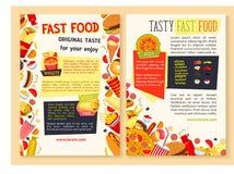 Affiches d'aliments de préparation rapide de vecteur pour le restaurant Image libre de droits
