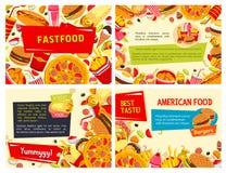 Affiches d'aliments de préparation rapide de vecteur réglées pour le restaurant Photographie stock libre de droits