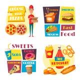 Affiches d'hamburger de pizza de vecteur de repas de rapide Illustration Libre de Droits