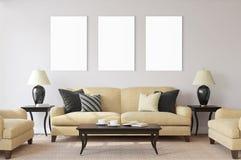 Affiches d'isolement par blanc avec la maquette vide de cadre Image stock