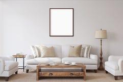 Affiches d'isolement par blanc avec la maquette vide de cadre Photos stock